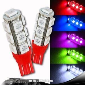 2x Red SMD 13 LED 12v T10 Wedge Light Bulb 194 2450 2652 2921 2825 For NISSAN
