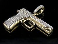3.00Ct Brilliant Round Cut Diamond Hand Gun Charm Pendant 14k Yellow Gold Finish