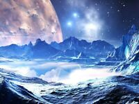 Fantasy Moon Ice Winter Landscape Home Decor Wall Art Poster & Canvas Pictures