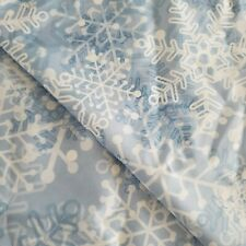 Snowflakes Shower Curtain Blue White Winter Christmas Snow EUC