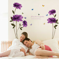 DIY Wallpaper Purple Rose Removable Room Home Decor Wall Stickers Romantic Decal