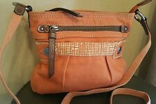 Fossil Canvas Leather trim Orange Crossbody Purse travel school