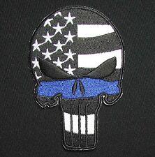 PUNISHER SKULL WAVING FLAG POLICE SWAT THIN BLUE LINE VELCRO® BRAND PATCH