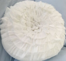 Hamptons White Tulle French Country Shabby White Chic Round Cushion Toss Pillow