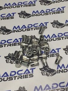 100x m6 304 stainless steel nutsert, rivnut  splined and flanged
