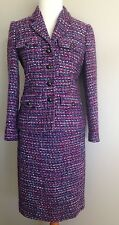 J Crew Boucle Tweed Jacket Skirt Blazer Suit Set Lot Purple Spring Womens SZ 0 2