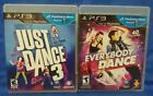 Just Dance 3 And Everybody Dance Game Lot   Sony Playstation 3 Ps3   Tested