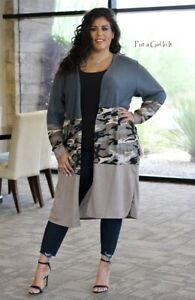 PLUS SIZE Womens CAMOUFLAGE CAMO COLOR BLACK LONG CARDIGAN DUSTER 1X 2X 3X USA