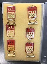 1988 Seoul Summer & Calgary Winter Olympics McDonald's Souvenir Pin Set USA