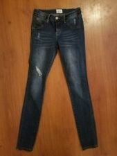 HUDSON size 16 Girls Skinny Jeans Distressed Flap Button Pockets Stretch