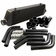 "BLACK Universal Intercooler 27x7x2.5  2.5"" Tube and Fin+8PCS Piping Kit+Clamps"