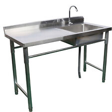 A Compartment Stainless Steel Commercial Utility Drain Board Kitchen Prep Sink