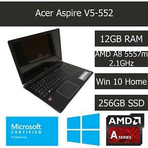 "Acer Aspire V5-552 15.6"" Laptop 12GB RAM 256GB SSD AMD A8 2.1GHz Windows 10 Home"