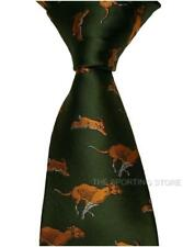 Shooting Tie Featuring Running Hounds & Hares On A Green Background