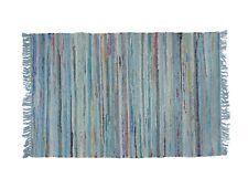 NEW...Sturbridge 2' x 3' Cotton Rag Throw Rug in Light Blue, Hand Woven