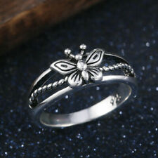 Women's Butterfly Ring 925 Stamped Silver Plated Size 10  Jewelry Thumb Finger