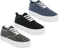 Womens Pumps Platform Canvas Flat Lace Up Casual Fashion Trainers Shoes Flatform