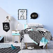 ADAIRS KIDS Ryder Black/White COT (Jnr Bed) QUILT COVER SET BNIP geometric