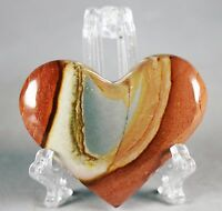 NATURAL Polished POLYCHROME JASPER HEART w/ACRYLIC STAND-Madagascar