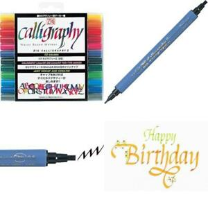 Kuretake High Quality Calligraphy Pen 12 Color Set Pack New Free Fast Shipping