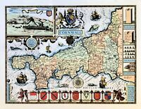 John Speed Antique Map of Cornwall circa 1676 LITHO PRINT in 11 special colours