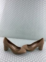 Sam Edelman JUNIE Beige Leather Block Heel Round Toe Slip On Heels Women's 9.5