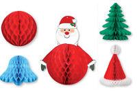 Retro Christmas Paper Honeycomb Decorations Santa Snowflake Hat Tree Ball Bell