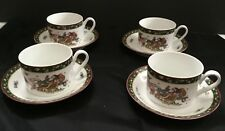 Set of 4 Susan Winget A Christmas Story Cup Saucers Happy Christmas To All 8pcs