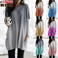 Women Gradient Long Sleeve T Shirt Casual Loose Pocket Blouse Long Tops Pullover