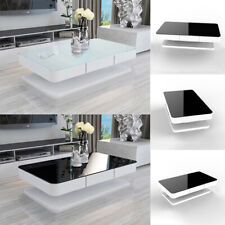 High Gloss Coffee Table Black / White Glass Top with 2 Drawer Living Room Office