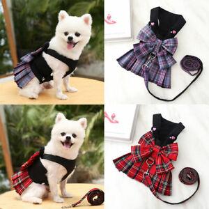 Retro Lattice Puppy Pet Dog Harness Vest Dress With Ruffle Skirt&Walking Leash