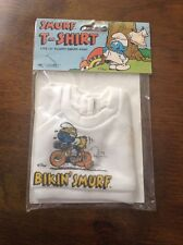 """1981 SMURF T-SHIRT BIKIN' SMURF #640 fits 14"""" Floppy Plush Doll NEW"""