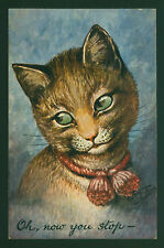 "ARTH. THIELE..FLIRTY CAT MAKES EYES ""OH, NOW YOU STOP..."" VINTAGE POSTCARD"