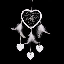 White Small Heart Wall Hanging Dream Catcher With Feather Home Car Deco