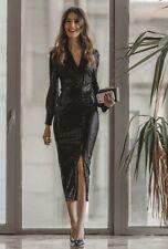 Zara Black Sequin Sparkly Shirt Midi Dress S UK10 New