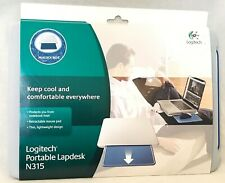 Logitech Portable Lapdesk N315 with Retractable Mouse Pad, Peacock Blue