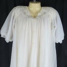 Shadowline Medium Babydoll Nightie Robe White Chiffon Pegnoir Vintage Lingerie