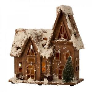 LED Lichter-Haus 26 cm aus Holz Weihnachtshaus mit Deko Batterie beleuchtet