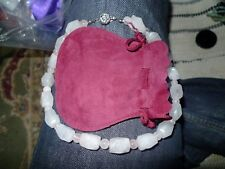 Rose Quartz Bead Necklace with Silver Colour Fastener, Burgundy Suedette Pouch