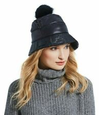 NWT $85 Black UGG Water Resistant Lined Bucket Misses' Hat with Fur Pom Pom