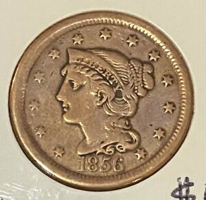 1856P Braided Hair Liberty Head Large Cent, VF (cleaned)