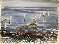 Karl Adser 1912-1995 Seevogel an steiniger Küste Dänemark Ostseeinsel Natur