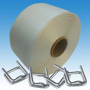 Umreifungsset 25 mm Textil Polyestersband, 125 Verschlussklemmen, Umreifungsband
