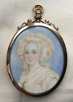 Antique Miniature Framed Watercolour Portrait Of Marie Antoinette