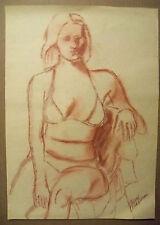 """SITTING BATHING BEAUTY""  by Ruth Freeman  CONTE CRAYON 15 3/4"" X 22 1/4"""