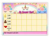 Unicorn Eyelash MAGNETIC- POTTY-TOILET TRAINING- Reward Chart -FREE pen/stickers