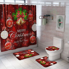 Christmas Shower Curtain Set Bathroom Rug Skidproof Toilet Lid Cover Bath Mat