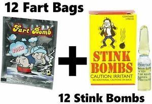 12 GLASS STINK BOMBS + 12 FART BAGS - Gag Prank Joke ~ COMBO SET!