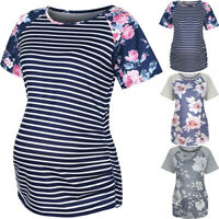 Womens Maternity Short Sleeve Striped Floral Print T-shirt Tops Pregnancy Blouse