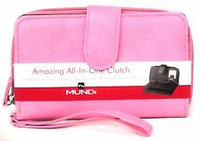 FAT WALLET Mundi Women ALL IN ONE Faux Leather ID Card Ladies Clutch Pink I560X